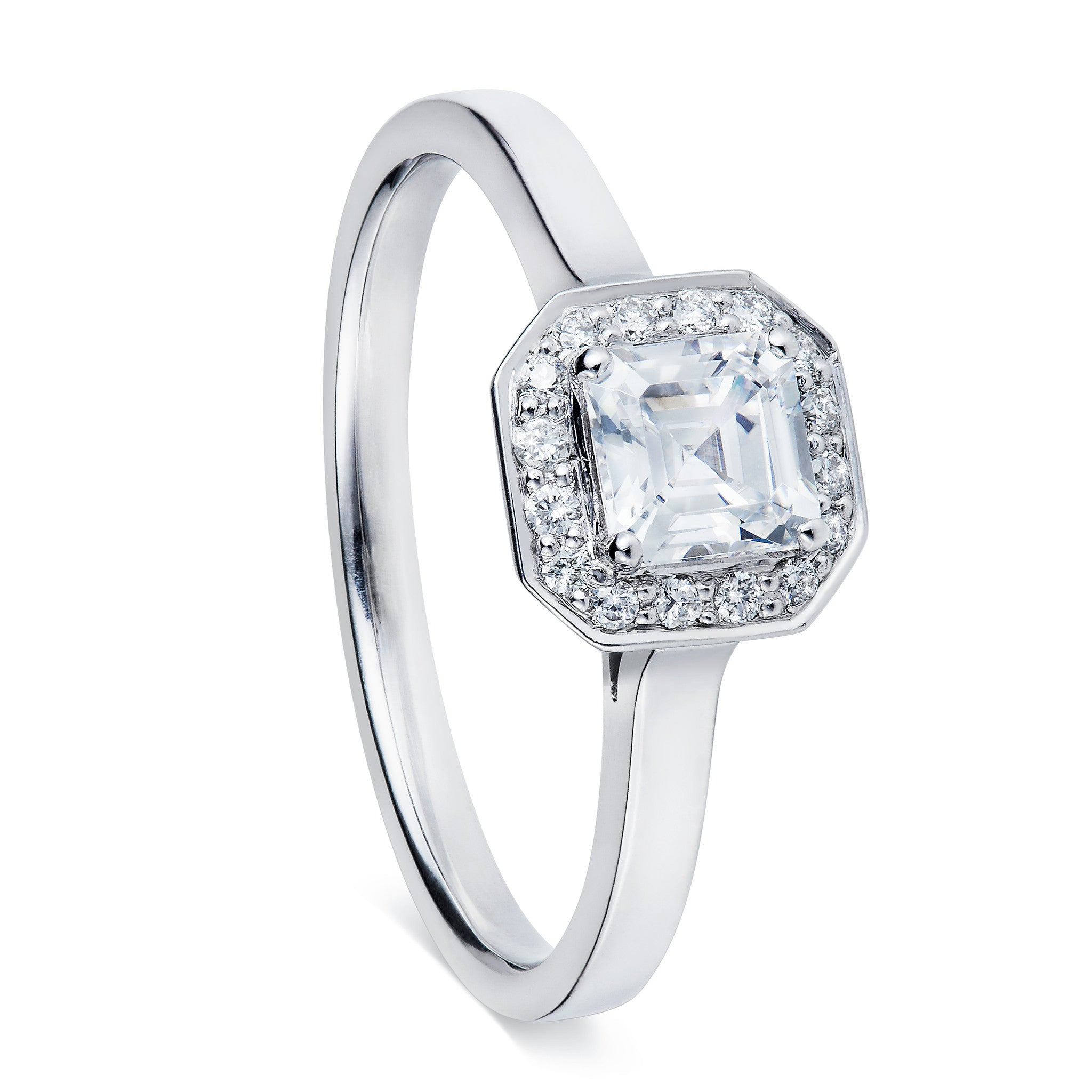 asscher turgeon raine ring rings diamond stone three product cut engagement
