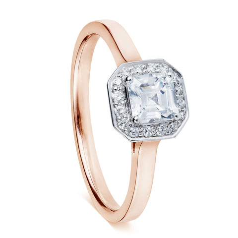 Asscher cut diamond engagement ring, with diamond halo set in 18 carat white and 18 carat rose gold. Hand-made and available to customise in our Hatton Garden jewellery workshop and shop. Work alongside our jewellers to make sure your ring is perfect