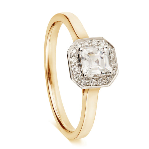 Asscher Cut Diamond Halo-Rings-London Rocks Jewellery