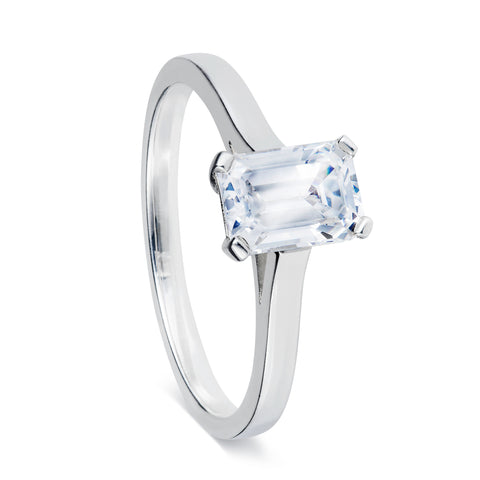 Emerald Cut Solitaire Ring-Rings-London Rocks Jewellery