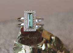 Baguette Tourmaline Ring with White Diamond Halo - SOLD
