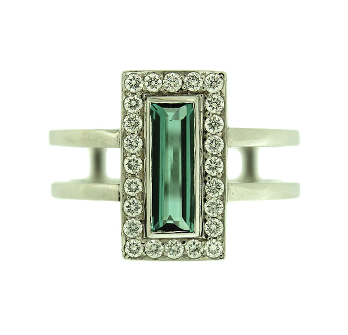 Baguette Tourmaline Ring with White Diamond Halo
