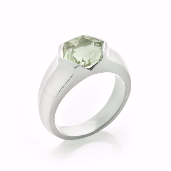 Silver Green Quartz Mini Viper Ring
