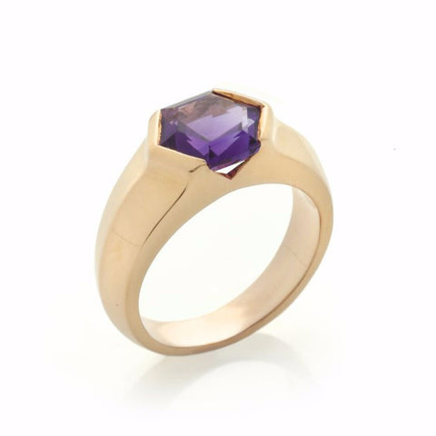 Gold Amethyst Mini Viper Ring-Rings-London Rocks Jewellery