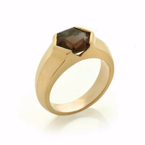 Gold Smokey Quartz Mini Viper Ring-Rings-London Rocks Jewellery