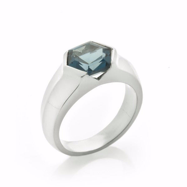 Silver Blue Topaz Mini Viper Ring-Rings-London Rocks Jewellery