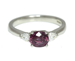 Oval Pink Spinel and Diamond Three Stone Ring