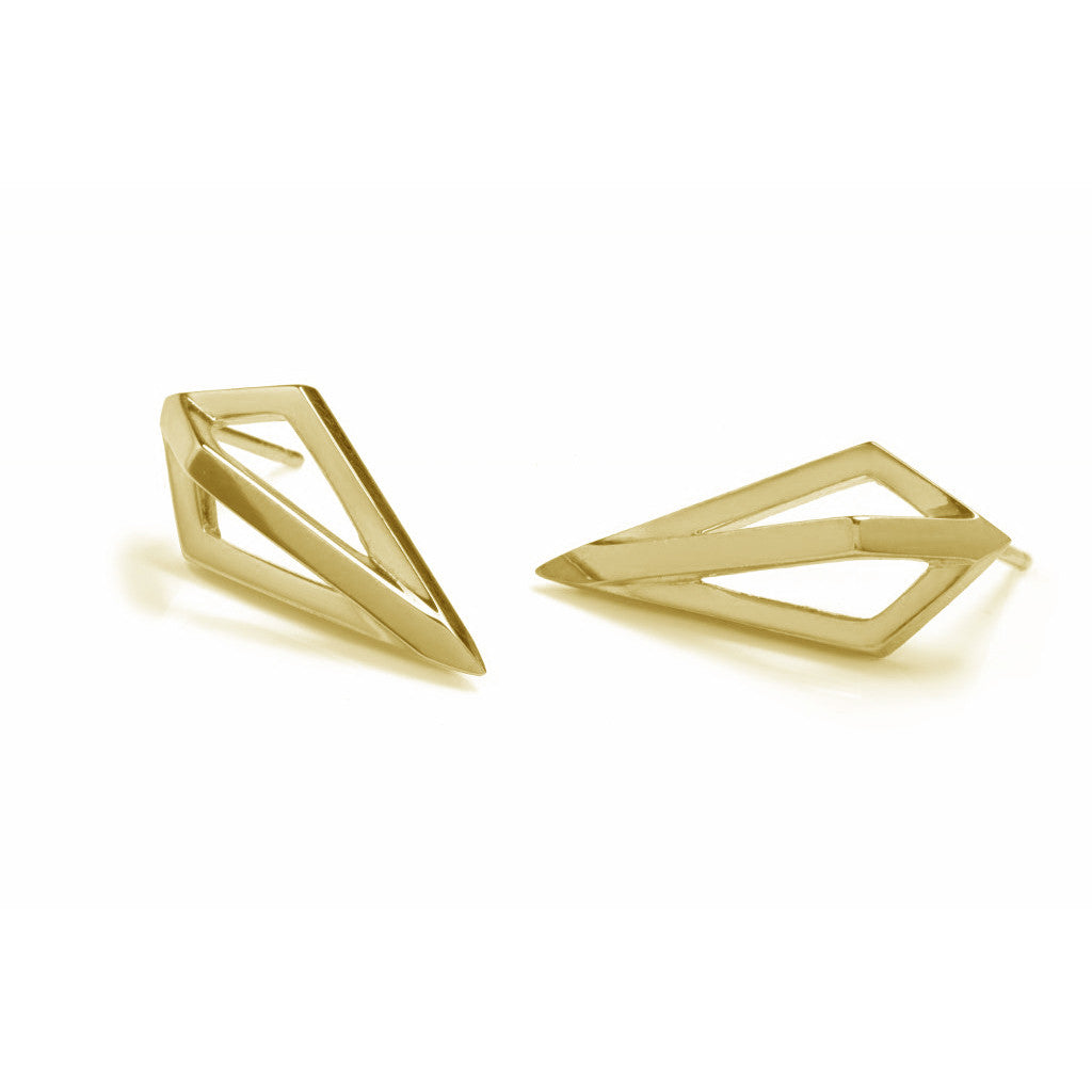 Gold Pendulum Studs-Earrings-London Rocks Jewellery