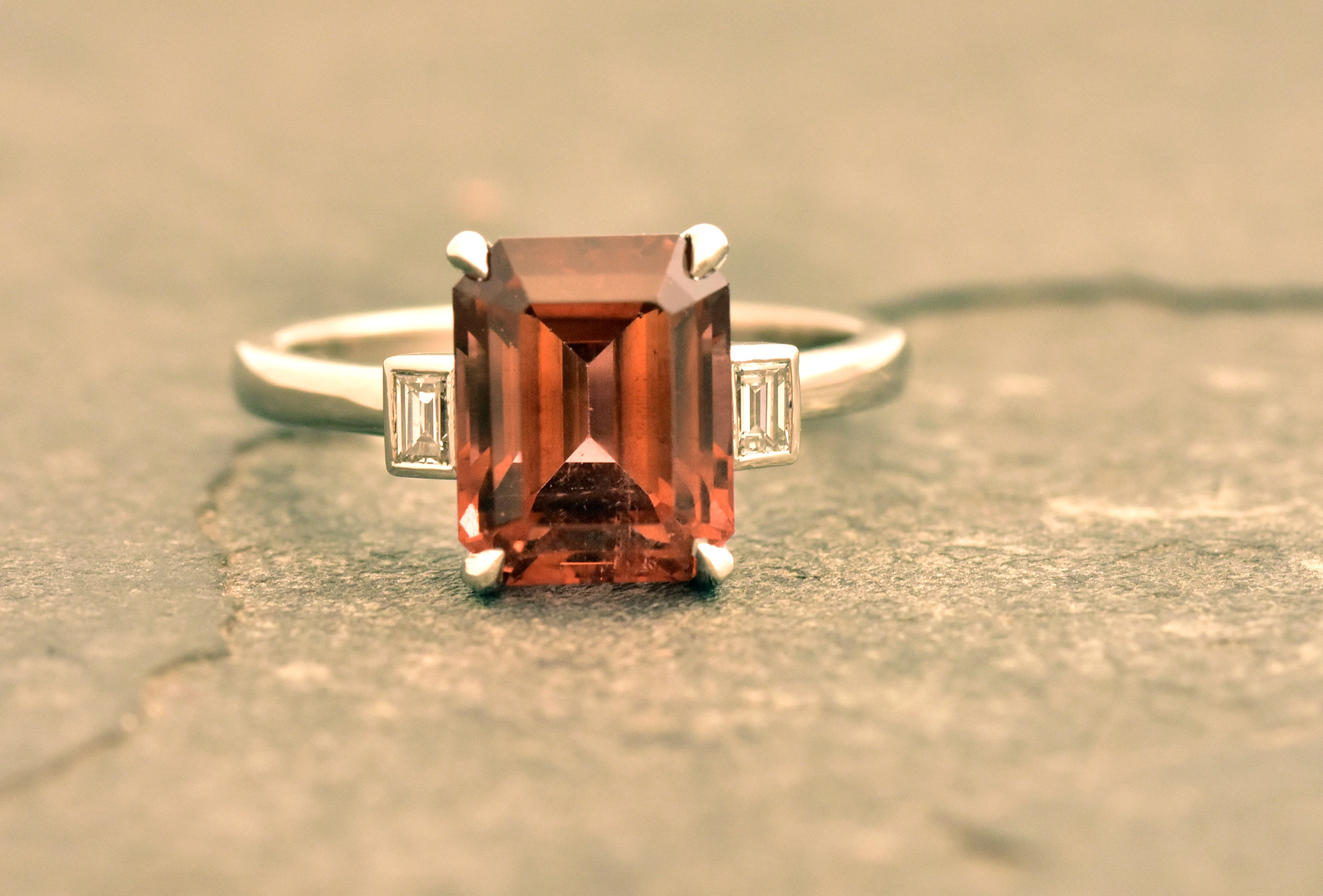 Pink Tourmaline & Diamond Three Stone Ring