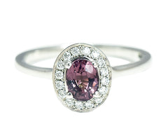 Oval Pink Spinel Halo Ring