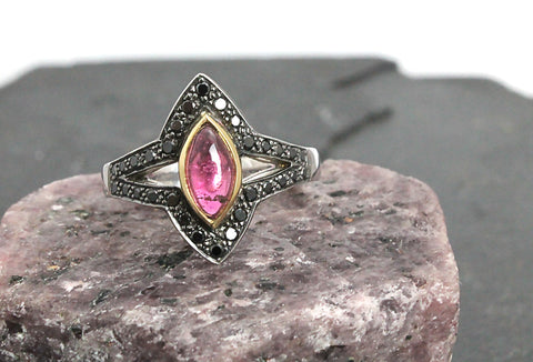 Marquise Cabochon Pink Tourmaline with pave set halo