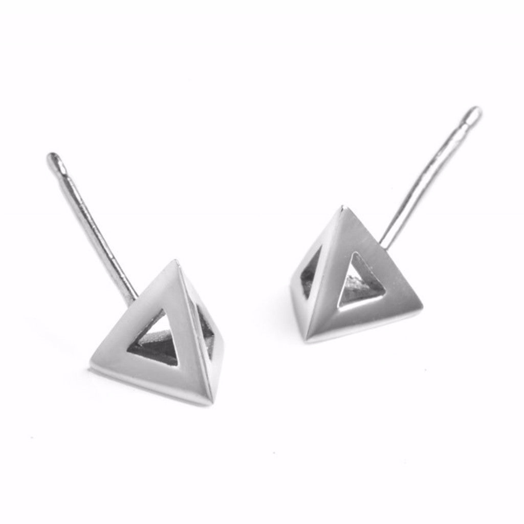 Silver Pyramid Studs-Earrings-London Rocks Jewellery