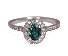 Oval Teal Tourmaline Ring with Diamond Halo