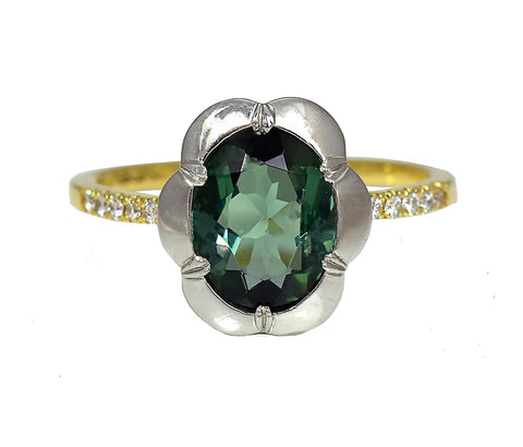 Green Tourmaline Georgian Ring with Diamond Shoulders