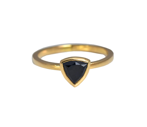Trillion Cut Black Diamond Ring in Rose Gold