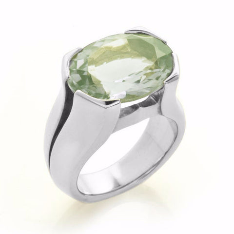 Silver Green Quartz Viper Ring