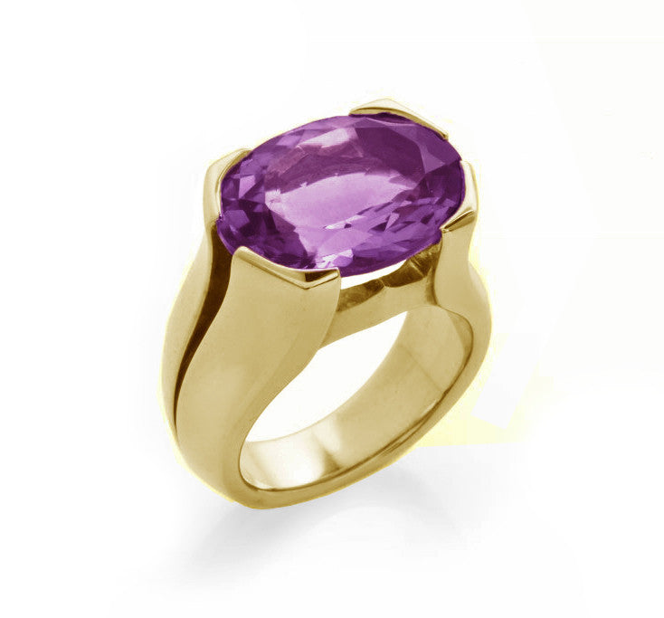 Gold Amethyst Viper Ring-Rings-London Rocks Jewellery