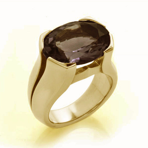 Gold Smokey Quartz Viper Ring-Rings-London Rocks Jewellery