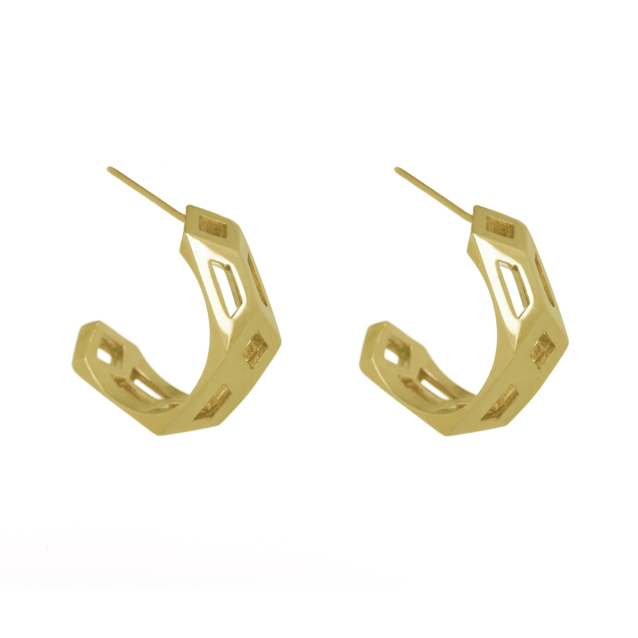 Gold Metric Hoops-Earrings-London Rocks Jewellery