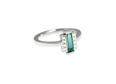 Baguette Cut Green Tourmaline and Diamond Ring