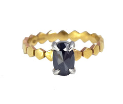 Black Rose Cut Diamond Ring with Hexagon Band