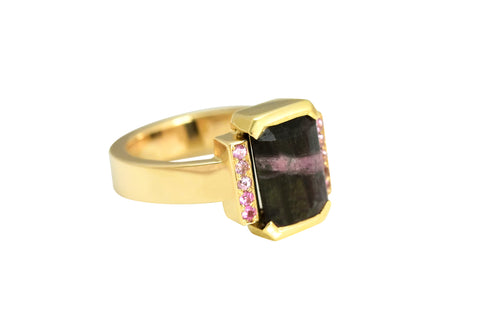 Bi-Colour Tourmaline and Pink Sapphire Ring