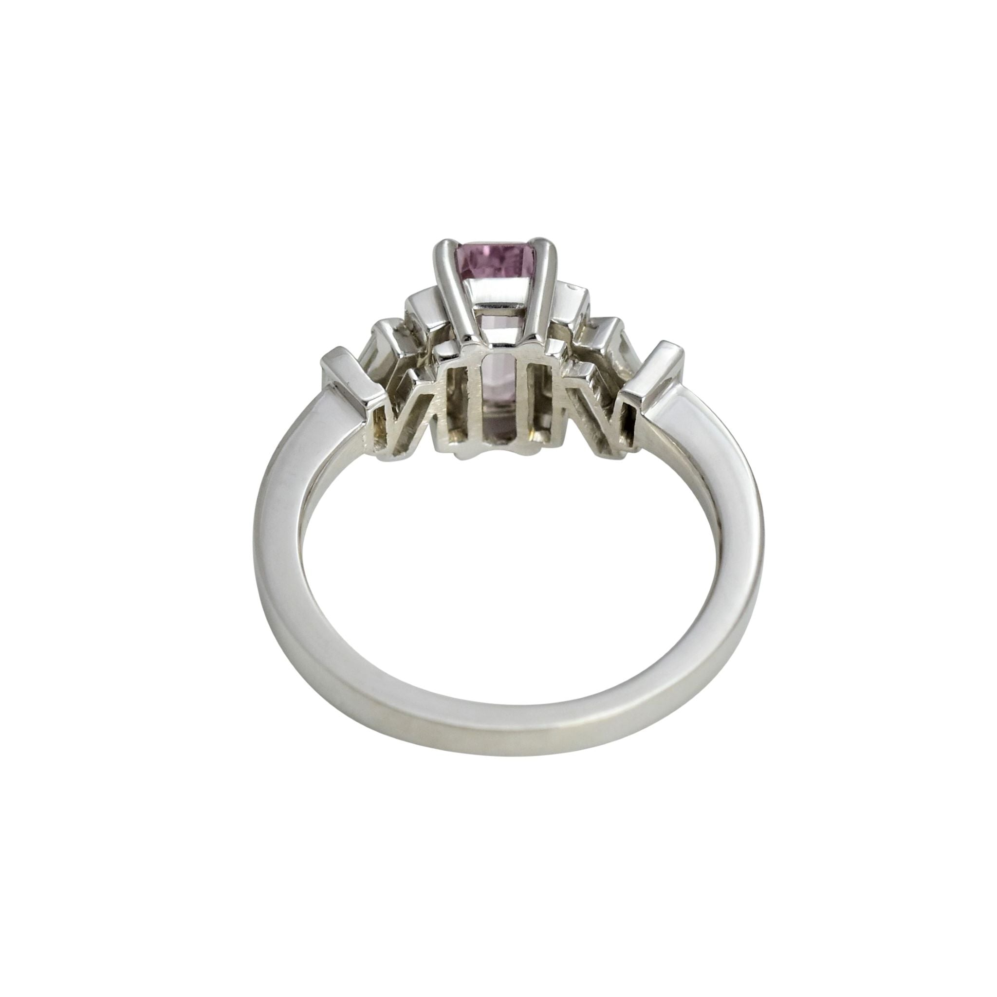 Pink Sapphire and Diamond Baguette Brutalist Ring