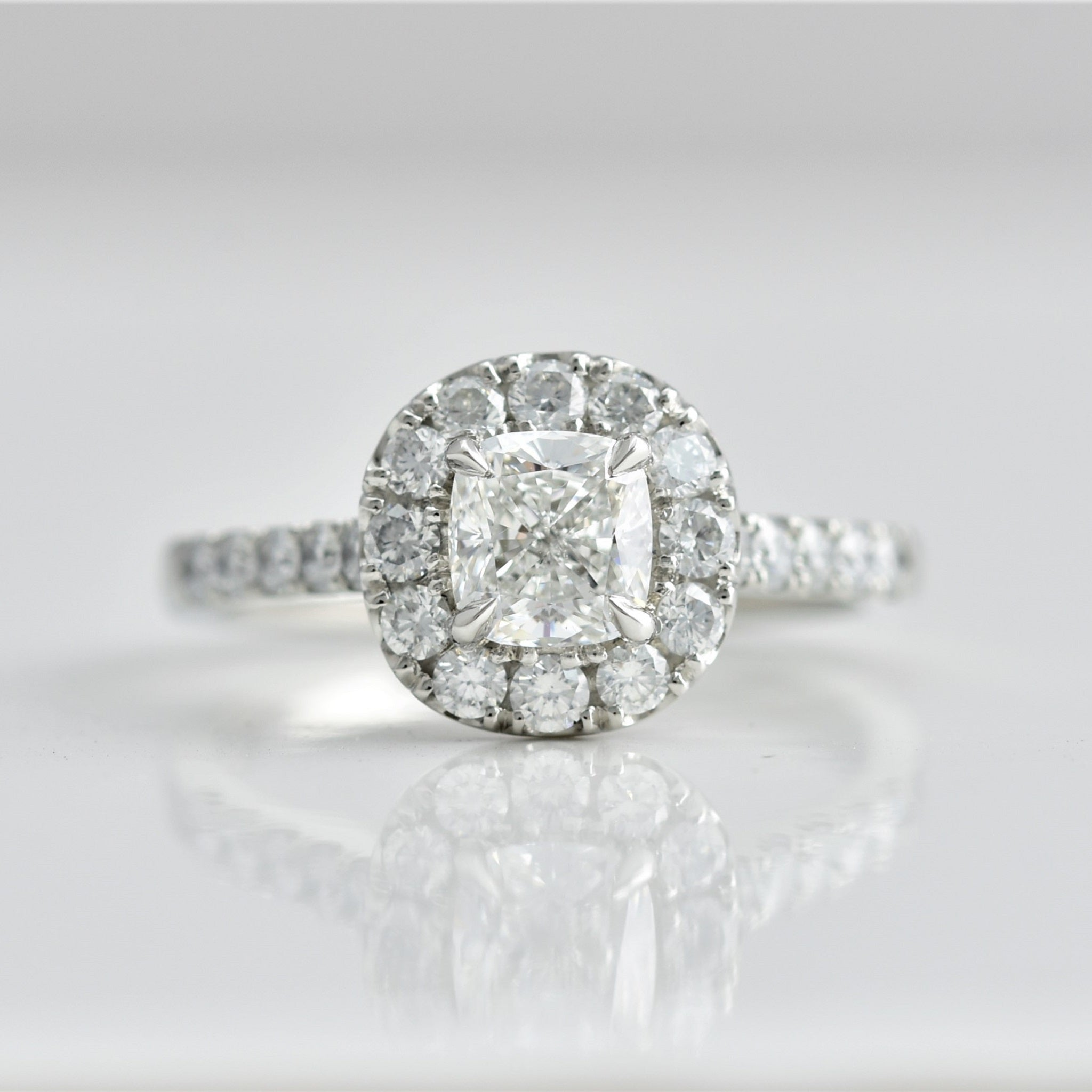 Cushion Diamond Halo with Diamond Band