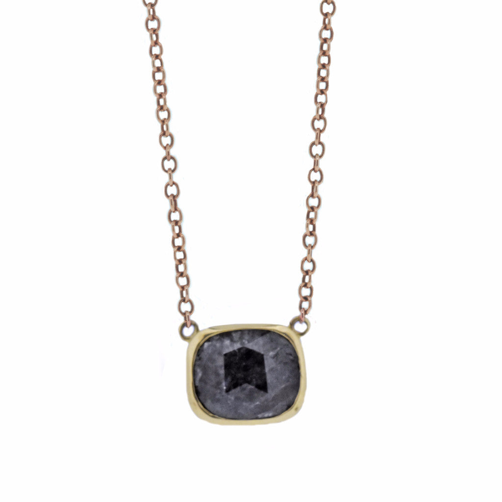 Natural grey cushion cut diamond set in gold-necklace-London Rocks Jewellery