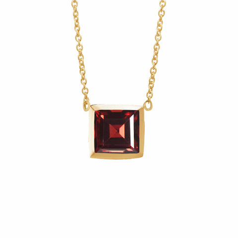 Gold garnet pendant-Necklaces-London Rocks Jewellery