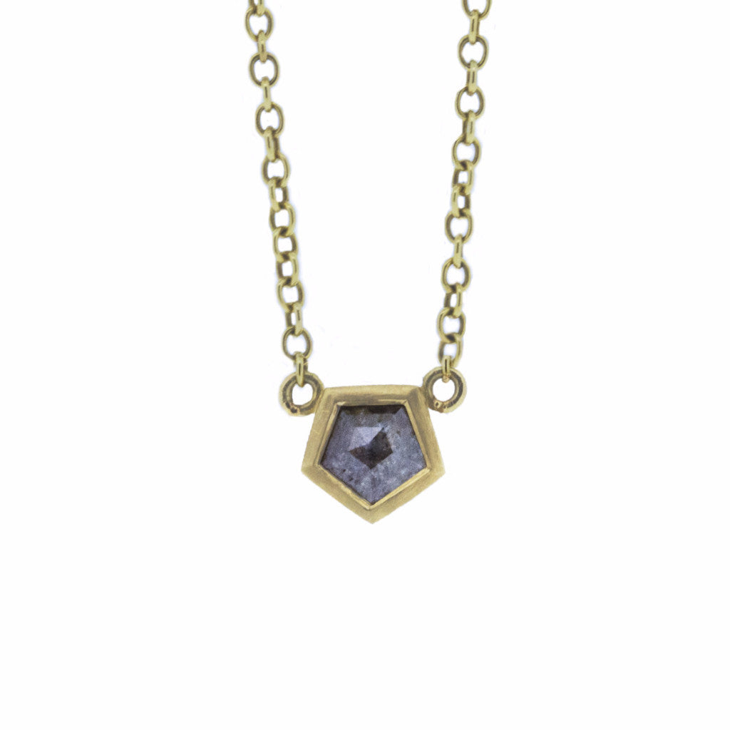 Grey hexagon cut diamond pendant-Necklaces-London Rocks Jewellery
