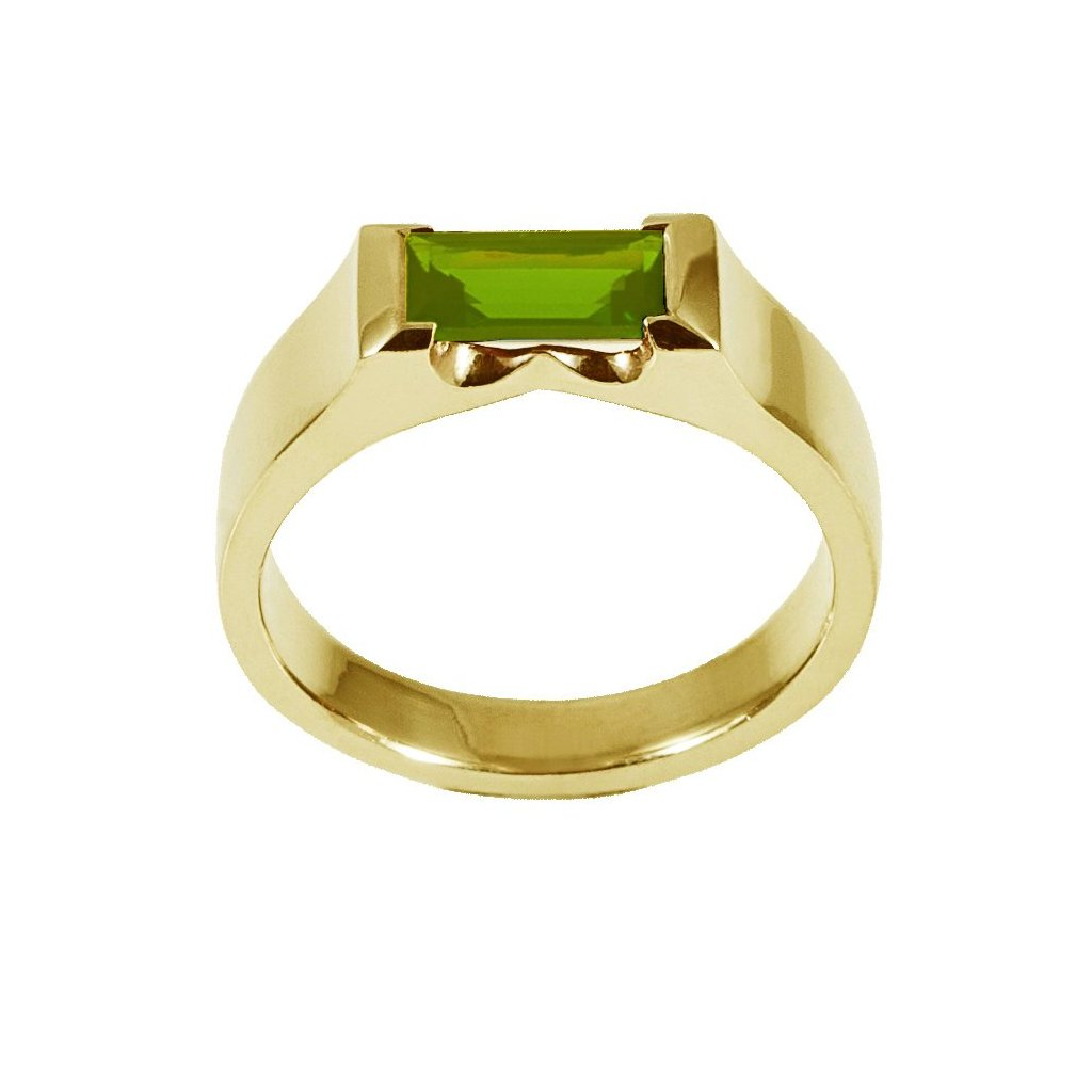 Green Peridot Cubist Ring - Gold