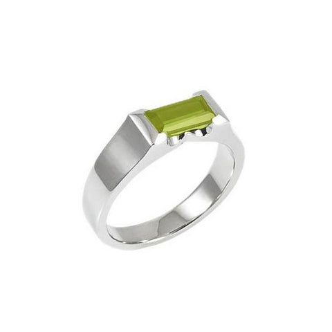 Green Peridot Cubist Ring - Silver