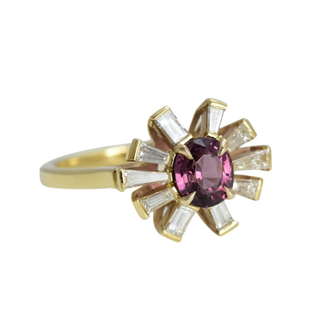 Purple Spinel and Diamond Star Spray Ring