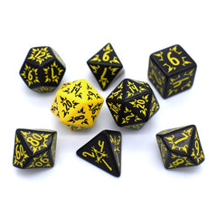 Black and yellow fancy dice