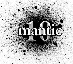 Mantic Games logo black paint splatter with the word Mantic overlaid on the number 10