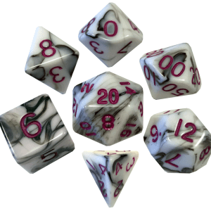 MDG LIC1037 Marble Black & White dice w/ Purple numbers