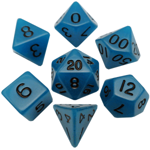 MDG LIC302 Glow in the Dark Blue dice w/ Black numbers