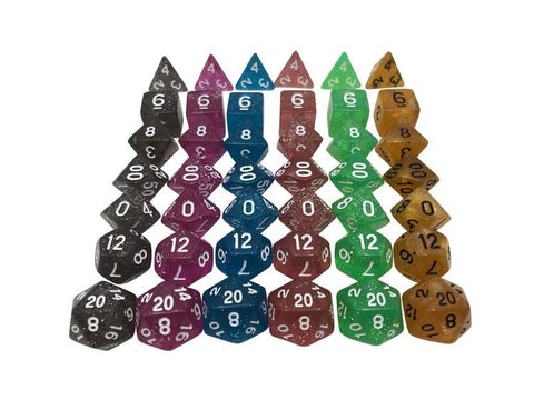 SkullSplitter Glitter Dice Bundles 6 sets black pink blue red green and gold