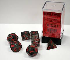 CHX23088 Smoke translucent w/ Red numbers 7-set polyhedral dice set.
