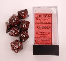 CHX25344 Speckled Silver Volcano Standard set of 7 dice.