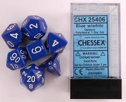 CHX25406 Opaque Blue w/ White numbers Standard set of 7 dice.
