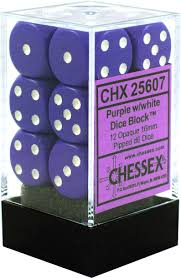CHX25607 D6 Cube 16mm Purple w/ White Pips