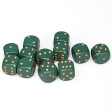 CHX25615 D6 Cube 16mm Dusty Green dice w/ Copper Pips