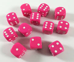 CHX25644 D6 Cube 16mm Pink dice w/ White Pips