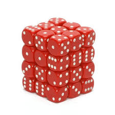 CHX25804 D6 Cube 12mm Red dice w/ White Pips
