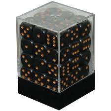 CHX25828 D6 Cube 12mm Black dice w/ Gold Pips