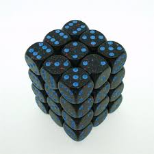 CHX25938 D6 Cube 12mm Speckled Blue Stars dice