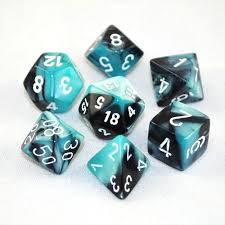 CHX26446 Gemini Black-Shell dice w/ White numbers