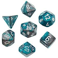 CHX26456 Gemini Steel-Teal dice w/ White numbers